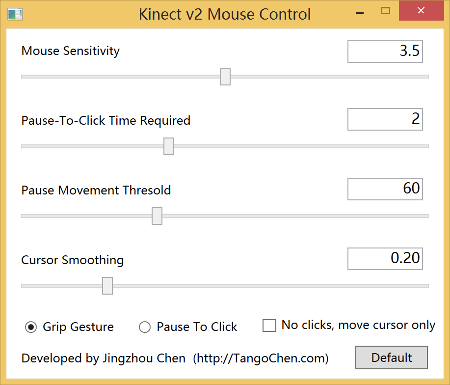 Kinect v2 Mouse Control Form Screenshot